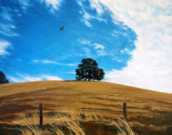 Golden Hills Poster featuring the painting Golden Hills Summer Sky by Jill Iversen