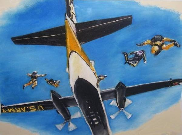 Army Poster featuring the pastel Golden Knights by Tiffany Westrich