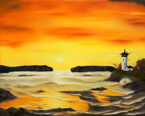 Sunset Poster featuring the painting Golden Lighthouse Sunset Dreamy Mirage by Claude Beaulac
