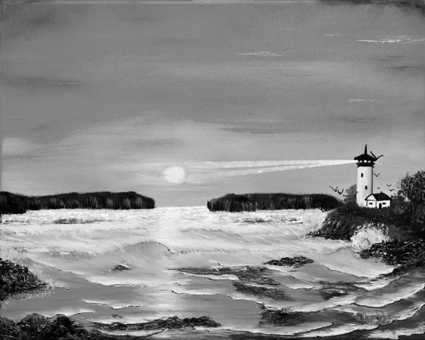 Black And White Poster featuring the painting Golden Lighthouse Sunset In Black And White by Claude Beaulac