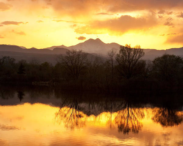 Longs Peak Poster featuring the photograph Golden Ponds Longmont Colorado by James BO Insogna