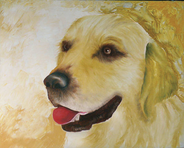 Poster featuring the painting Golden Retriever by Dick Larsen