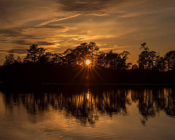 Terry D Photography Poster featuring the photograph Golden Sunburst At The Lake New Jersey by Terry DeLuco