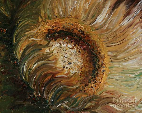Sunflower Poster featuring the painting Golden Sunflower by Nadine Rippelmeyer