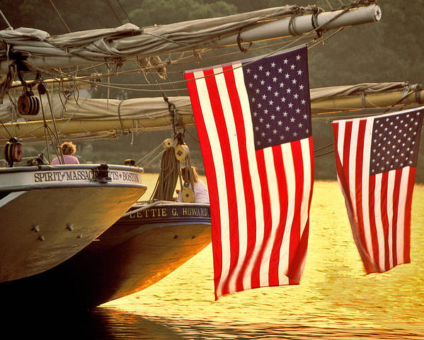 Sunset Poster featuring the photograph Golden Sunset And American Flags by Stephen Sisk
