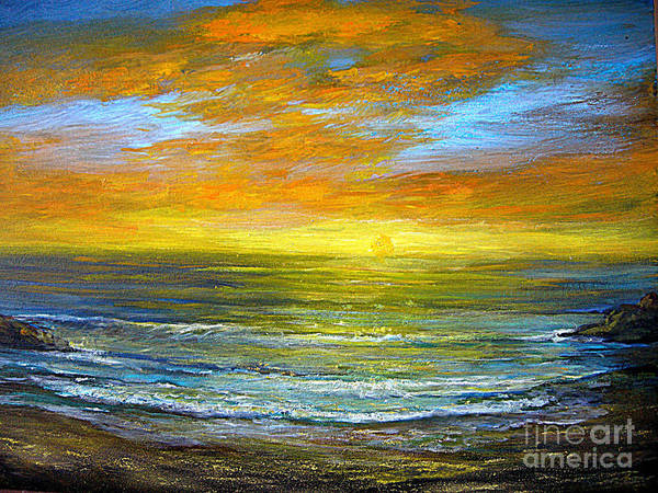 Seascapes Poster featuring the painting Golden Sunset by Jeannette Ulrich