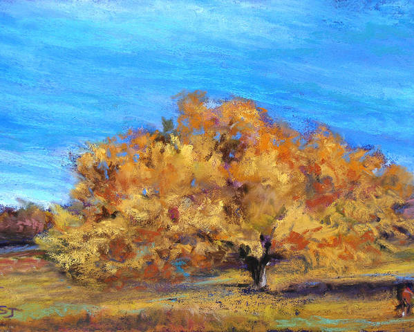 Landscape Poster featuring the pastel Golden Tree by Susan Jenkins