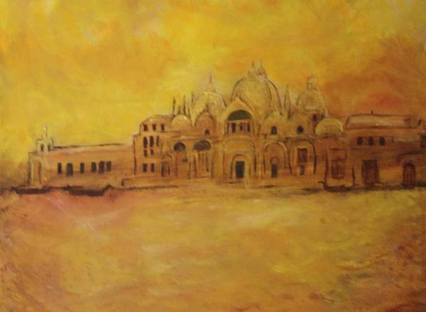 Architecture Poster featuring the painting Golden Venice by Michela Akers