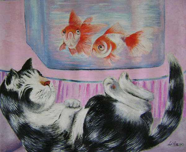 Fantasy Poster featuring the painting Goldfish Dream by Lian Zhen