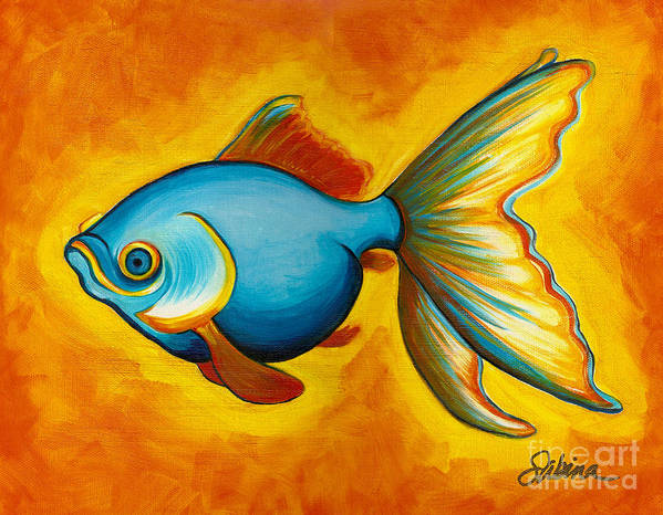 Fish Poster featuring the painting Goldfish by Sabina Espinet