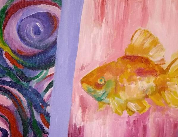 Acrylic Painting Orange Pink Purple Goldfish Water Abstract Fish Poster featuring the painting Goldie Locks by Gabriela Magras