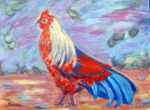 Rooster Poster featuring the painting Goldilocks by Lia Marsman