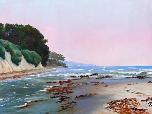Ocean Poster featuring the painting Goleta Beach Rushing Tide by Dorothy Nalls