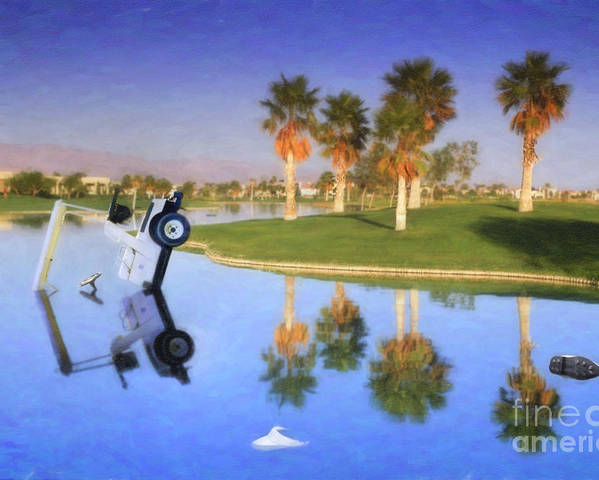 Golf Cart In Water Poster featuring the photograph Golf Cart Stuck In Water by David Zanzinger