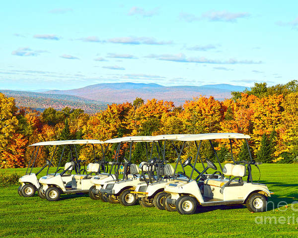 Golf Carts Poster featuring the photograph Golf Carts On Vermont Golf Course by Catherine Sherman