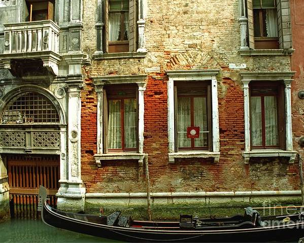 Venice Poster featuring the photograph Gondola In Front Of House In Venice by Michael Henderson