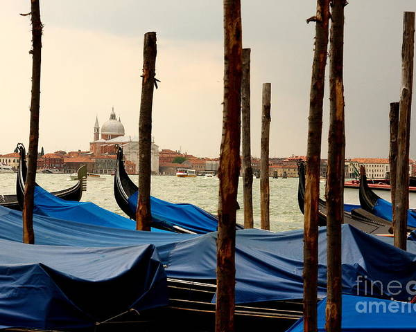 Venice Poster featuring the photograph Gondolas And Poles In Venice by Michael Henderson