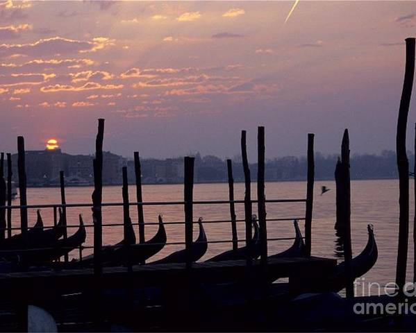 Venice Poster featuring the photograph Gondolas In Venice At Sunrise by Michael Henderson
