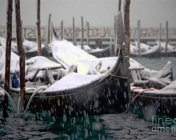 Venice Poster featuring the photograph Gondolas In Venice In The Snow by Michael Henderson