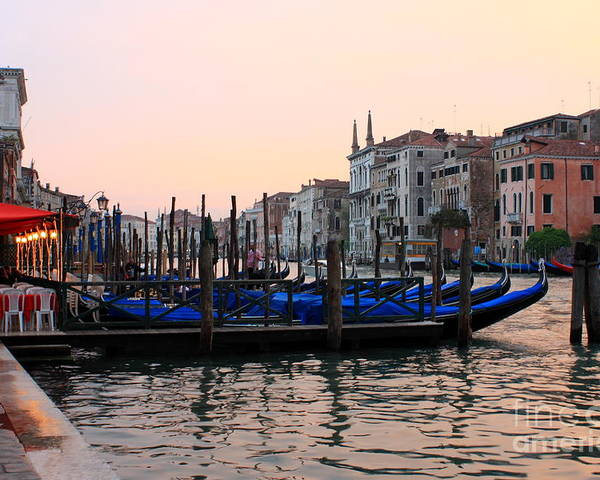 Venice Poster featuring the photograph Gondolas On The Grand Canal In Venice In The Morning by Michael Henderson