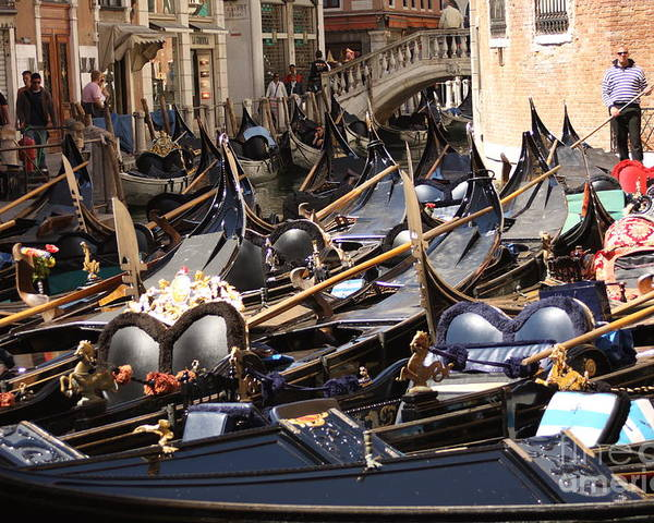 Venice Poster featuring the photograph Gondolas Parked In Venice II by Michael Henderson