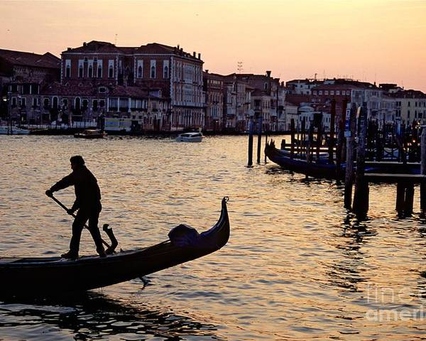 Venice Poster featuring the photograph Gondolier In Venice In Silhouette by Michael Henderson