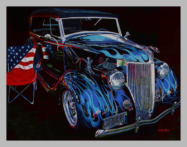 1936 Ford Phaeton Car Automobile Flame Paint American Flag Beer Iraq Hot Rod Roadster Blue Black V8 Poster featuring the painting Gone To Iraq by Mike Hill