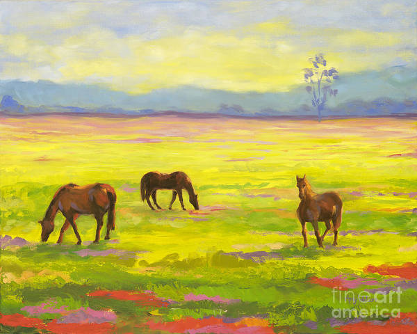 Landscape Poster featuring the painting Good Morning Horses by Amy Welborn