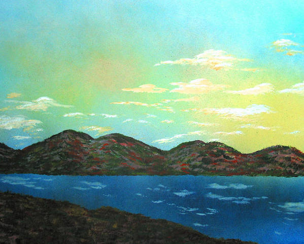 Landscape Morning Lake Mountains Poster featuring the painting Good Morning Sunshine by Ed Moore