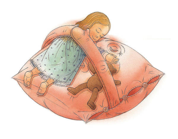 Sleep Dream Pillow Teddy Girl Chldren Bedroom Night Poster featuring the painting Goodnight by Kestutis Kasparavicius