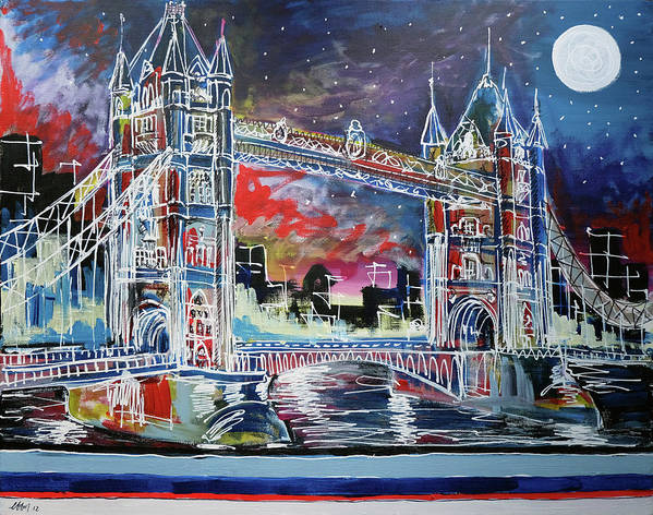 Tower Bridge Poster featuring the painting Goodnight Tower Bridge by Laura Hol Art