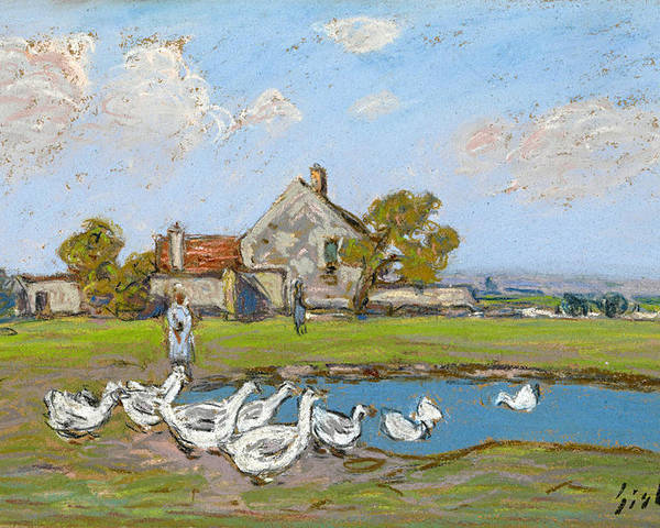 Alfred Sisley Poster featuring the drawing Goose Girl At Sablons by Alfred Sisley