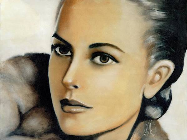 Portrait Poster featuring the painting Grace Kelly by Elizabeth Silk