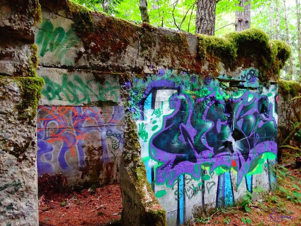 Mine Shaft Poster featuring the photograph Graffiti Illusion by Rasma Bertz