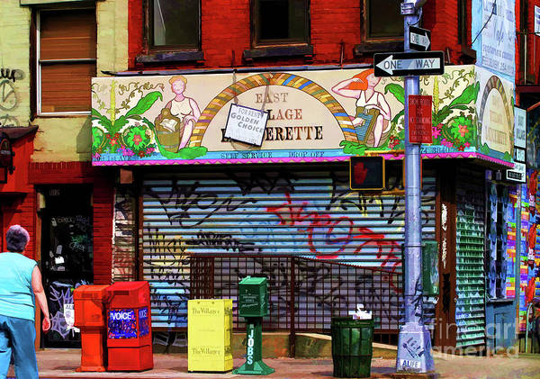 New York Poster featuring the photograph Graffiti Village Store Nyc Greenwich by Chuck Kuhn