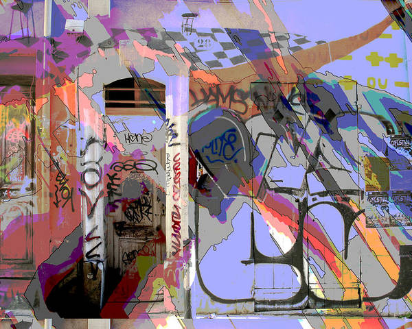 Front Door Poster featuring the mixed media Graffitis Front Door by Martine Affre Eisenlohr