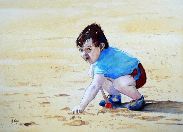 Figure. Boy. Sand. Beach. Play. Child. Digging. Poster featuring the painting Graham On The Sand by John Cox