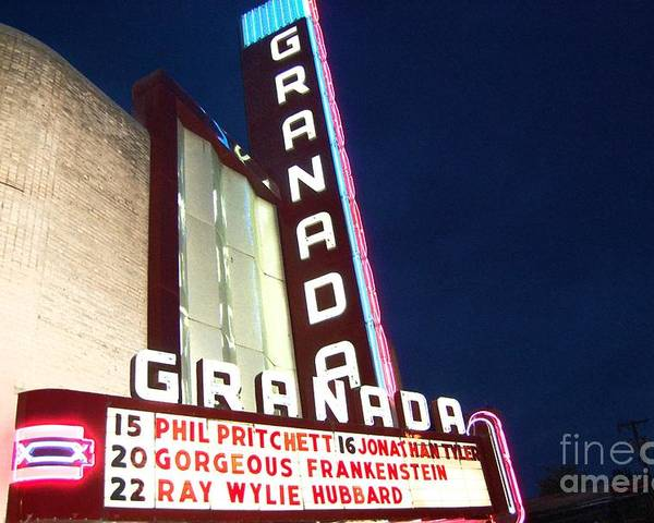 Music Poster featuring the photograph Granada Theater by Debbi Granruth