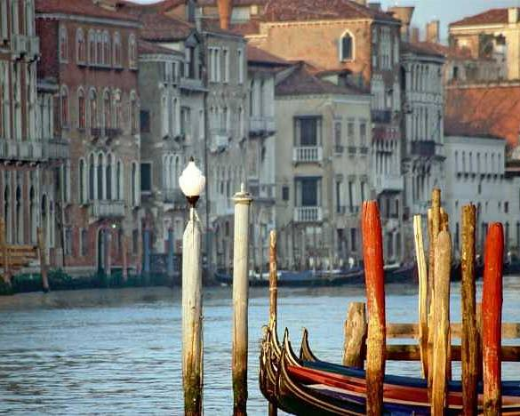 Venice Poster featuring the photograph Grand Canal In Venice With Light On Pole by Michael Henderson