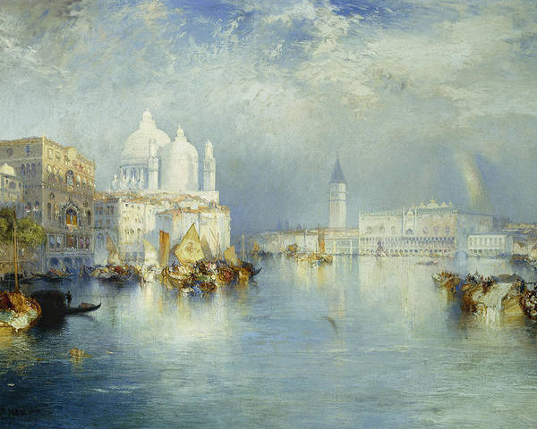 American Artist; Architectural; Architectural Feature; Blue; Boats; Buildings; Building Exteriors; Bystander; Calm; City;cloud; Cloudy; Color; Daytime; Docked; Dome; Europe; Grand Canal; Hudson River School;italy; Landmark; Monument; Moored; Oil Painting; Outdoors; Peaceful; People; Quiet; Reflection; Romantic Art; Romantic Era; Romanticism; Saint Mary Of Health; Santa Maria Della Salute; Sky; Stationary; Still; Tower; Tranquil; Urban; Venezia; Venice; Water Transport; Water Vessel; White Poster featuring the painting Grand Canal Venice by Thomas Moran