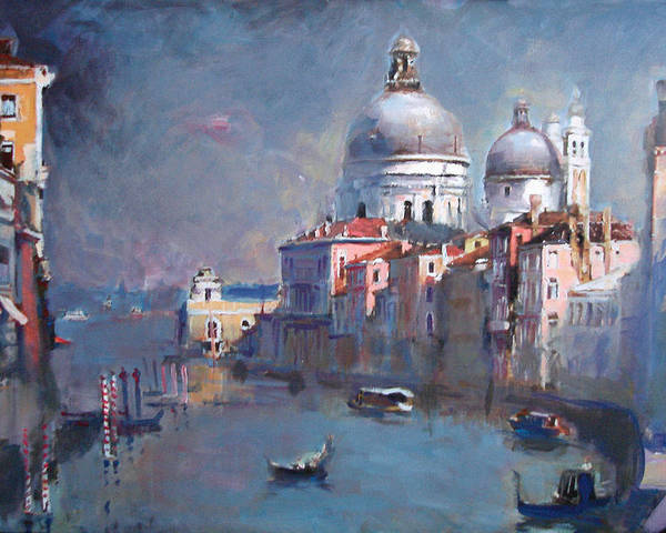 Landscape Poster featuring the painting Grand Canal Venice by Ylli Haruni