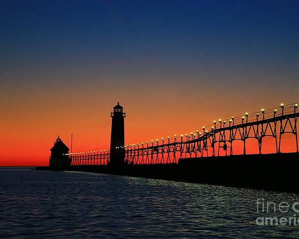 Water Poster featuring the photograph Grand Haven Light House by Robert Pearson