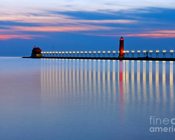 Grand Haven Poster featuring the photograph Grand Haven Pier Lights At Night by Craig Sterken