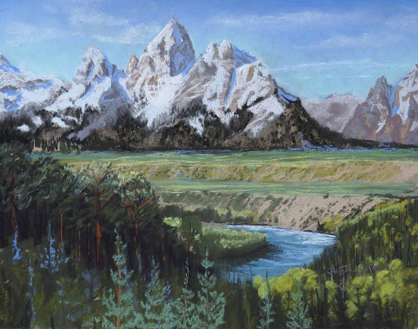 Grand Teton Poster featuring the painting Grand Teton And Snake River by Heather Coen