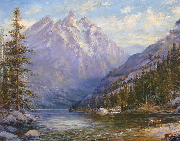 Grand Tetons Poster featuring the painting Grand Tetons And Jenny Lake Tryptych Center by Lewis A Ramsey