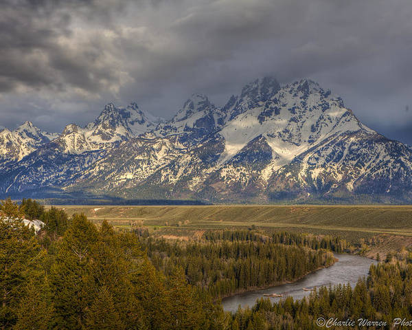 Grand Tetons Poster featuring the photograph Grand Tetons Snake River by Charles Warren
