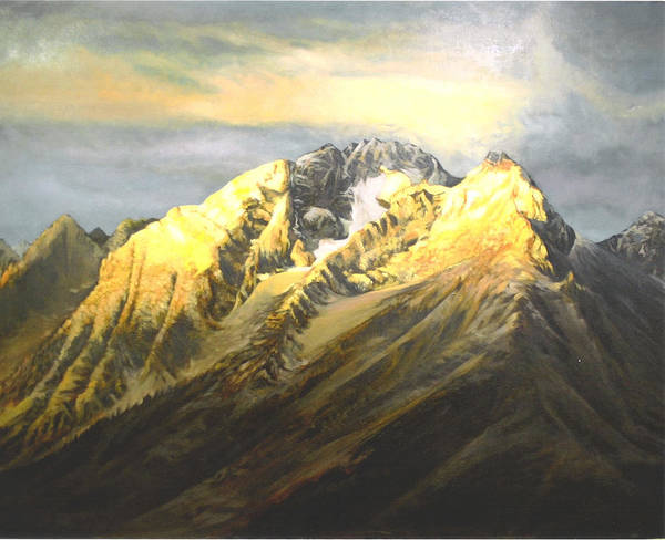 Landscape Poster featuring the painting Grand Tetons by Steve Greco