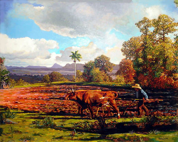 Cuban Art Poster featuring the painting Grandfather Farm by Jose Manuel Abraham