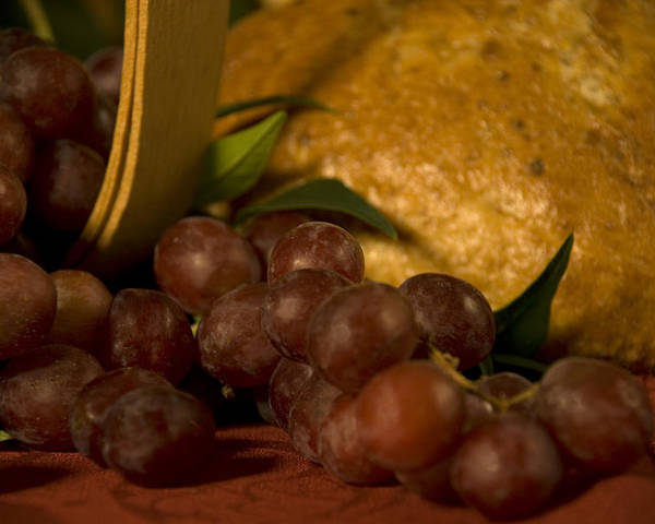 Fruit Poster featuring the photograph Grapes And Bread by Jessica Wakefield