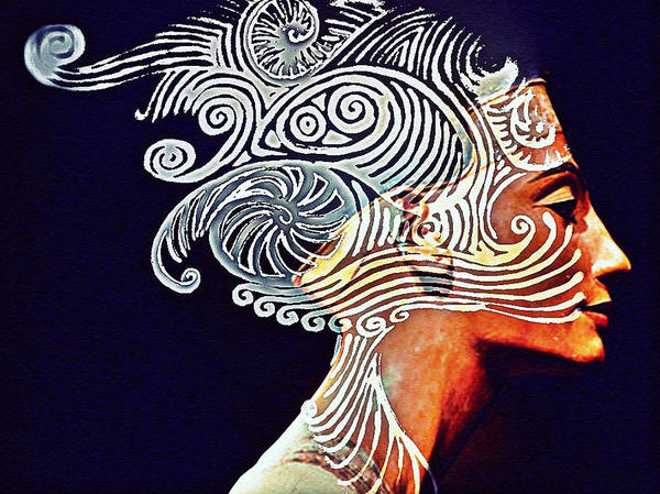 Perfection Facial Poster featuring the digital art Graphism For Nefertiti by Paulo Zerbato